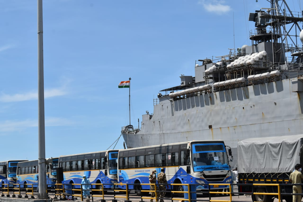 Operation Samudra Setu - INS Jalashwa Arrives at Tuticorin with Indian Citizens Embarked from Sri Lanka