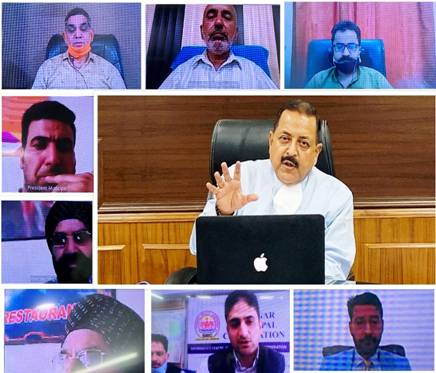 """Dr Jitendra Singh said, the need of the hour is to follow the Mantra of """"awareness not anxiety"""". For this, the elected representatives of Municipal bodies, who are the grassroots leaders can play a convincing role by making the people understand the importance of exercising precautions without panic. Dr Jitendra Singh said, what we need to make people understand is that even though the number of Corona positive cases is high, this is to a great extent because of mass screening and more number of samples being send. Otherwise, the percentage prevalence and death rate have remained almost same over the last ten weeks, he said. In the current phase of COVID pandemic, Dr Jitendra Singh said, Municipal activities like fumigation, maintenance of cleanliness and hygiene, social distancing, etc will be of significant importance and added that the district administration has been directed to keep the Municipal bodies on board in planning and execution. The heads of the Municipal bodies appreciated the regular contact with them maintained by Dr Jitendra Singh and his office on day-to-day basis. They brought to the notice of the Minister that the release of funds to the local bodies had got delayed. Dr Jitendra Singh appreciated the role played by the Municipal bodies and civil society during the Corona crisis and assured them that he is personally following up for closer coordination amongst all."""