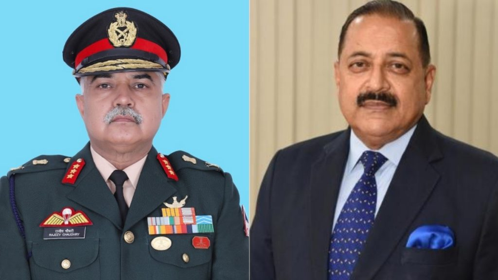 DG, BRO, Lt General Rajeev Chaudhry briefs Union Minister Dr. Jitendra Singh about the various ongoing and proposed road and bridge projects in Jammu & Kashmir and North East - India press release