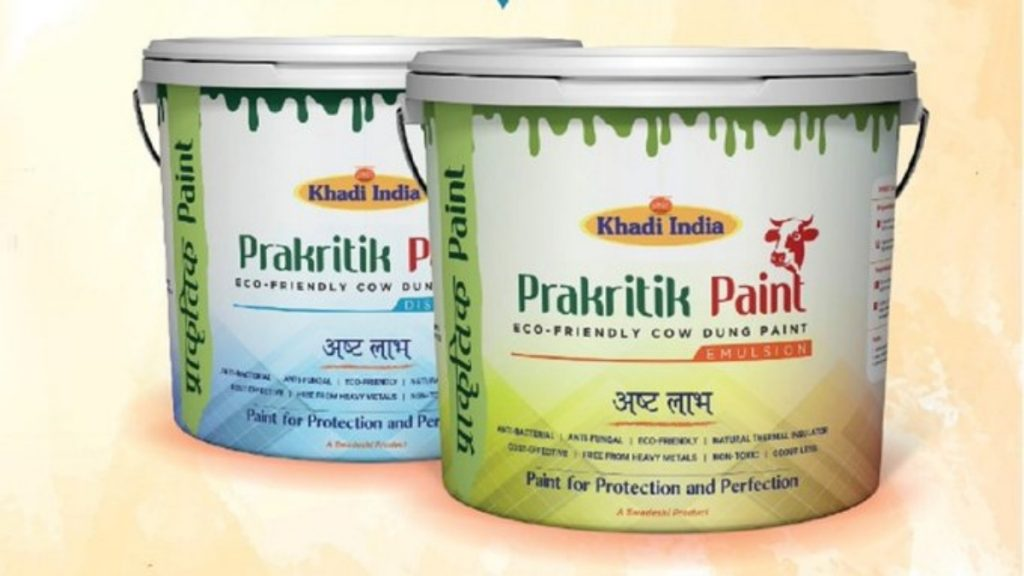 Gadkari launches Khadi Prakritik paint - India's first cow dung paint - developed by KVIC -India press release