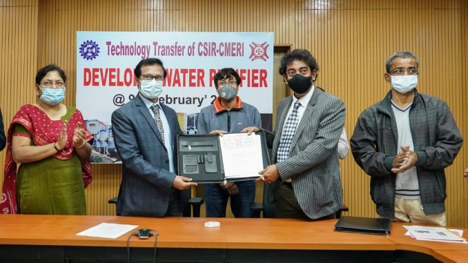 TECHNOLOGY TRANSFER OF CSIR-CMERI DEVELOPED WATER PURIFICATION TECHNOLOGIES - India press release