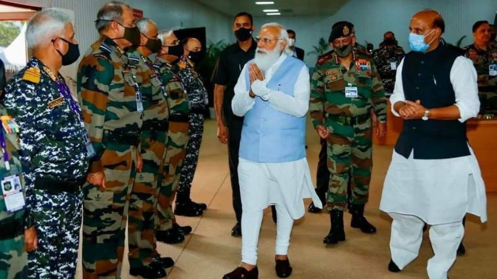 PM Modi arrives in Ahmedabad to address Combined Commanders' Conference in Kevadia today