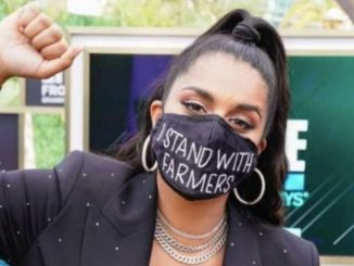 Lilly Singh wears 'I Stand With Farmers' mask at 2021 Grammys