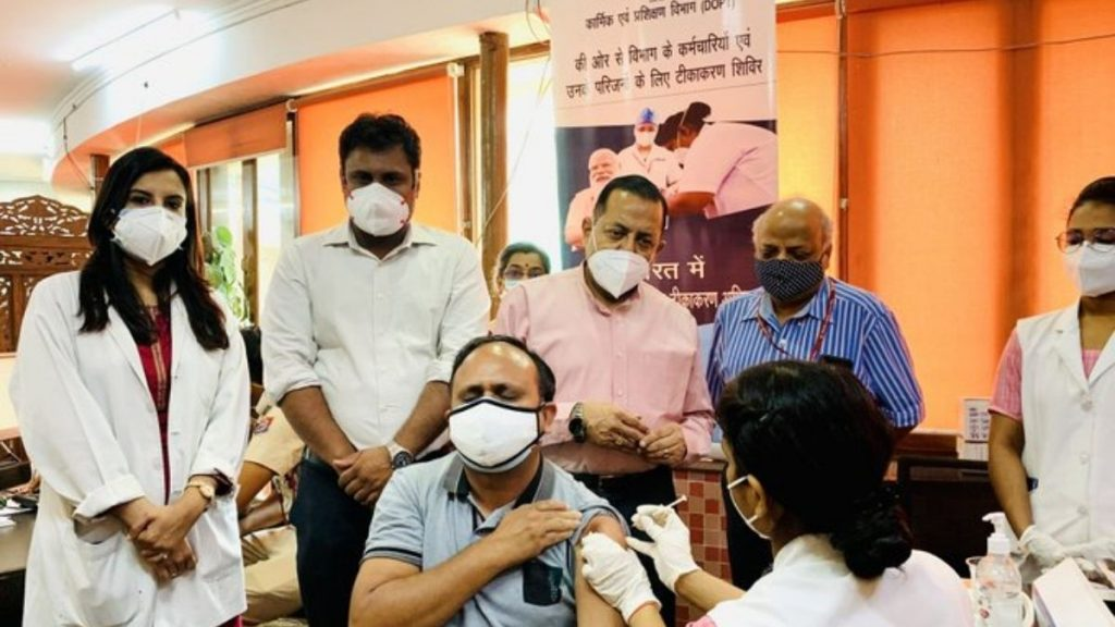 Union Minister Dr. Jitendra Singh visits special vaccination camp organized by Department of Pensions at CSOI, Chanakyapuri