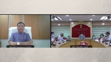 Union Health Minister Reviews Progress of COVID-19 Vaccination with 19 States